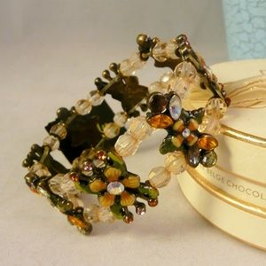 Cookie Lee Enamel Flower Stretch Bracelet